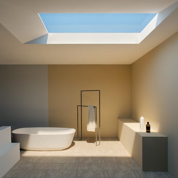 ventanas que recrean la luz natural en espacios interiores
